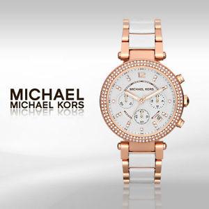 【限時8折 全店滿5000再9折】MichaelKors MK  玫瑰金陶瓷 水鑽 三環 手錶 腕錶 MK5774 美國Outlet正品代購