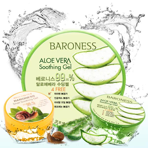 韓國 BARONESS 98.5^% 蝸牛 蘆薈保濕修護凝凍 300ml