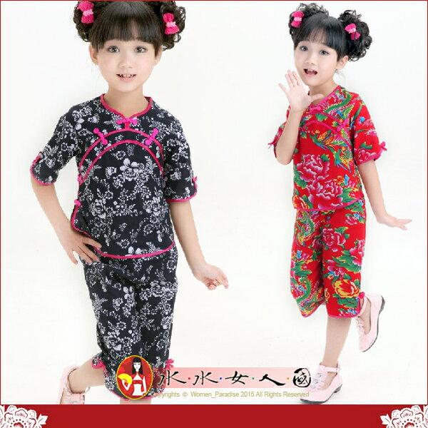 【水水女人國】~超口愛Q版童裝中國風~傳統花。復古印花棉麻小女生鳳仙唐裝兩件式套裝*兩色