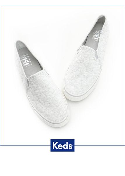 Keds 復古運動厚底休閒便鞋-淺灰 1