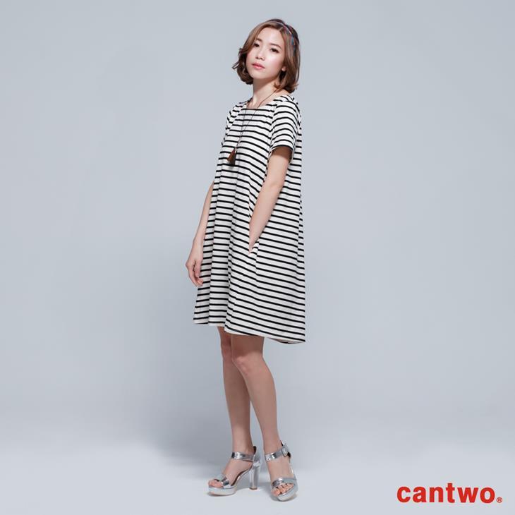 cantwo雙色條紋短袖洋裝(共三色) 1