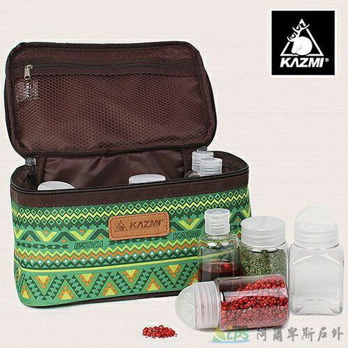 [阿爾卑斯戶外/露營] 土城 KAZMI 經典民族風調味料收納袋(L)-綠色 K5T3K002GN 0