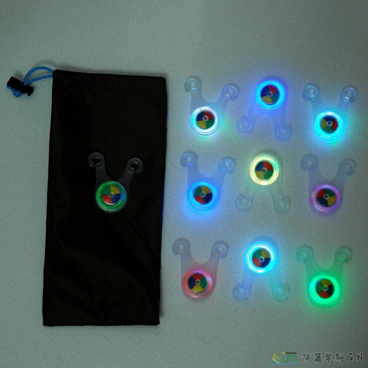 [阿爾卑斯戶外/露營] 土城 多彩LED露營繩/單車/夜間活動防撞防絆倒警示燈 10件組含收納袋 1