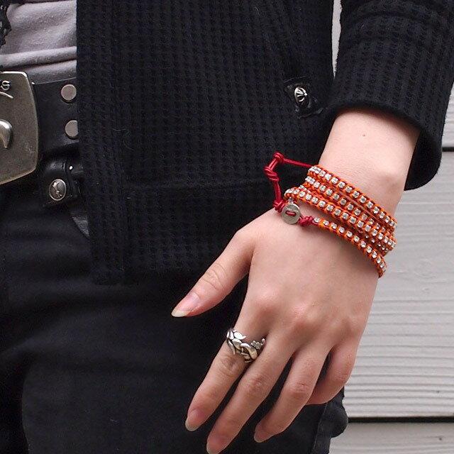 【現貨商品】【CHAN LUU】水鑽寶石紅色x螢光橘皮繩手環/5圈(CL-BSZ-3305Cry  Red/Neon Orenge  06239700KL) 2