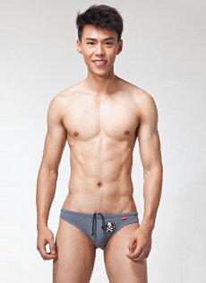 [漫朵拉情趣用品]【LOOCH】灰色印花三角泳褲(L) DM-9263274