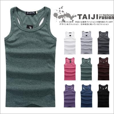 TAIJI~AP002~街頭風格‧純色棉質彈性羅紋布挖背背心‧九色‧條紋  美式 民族