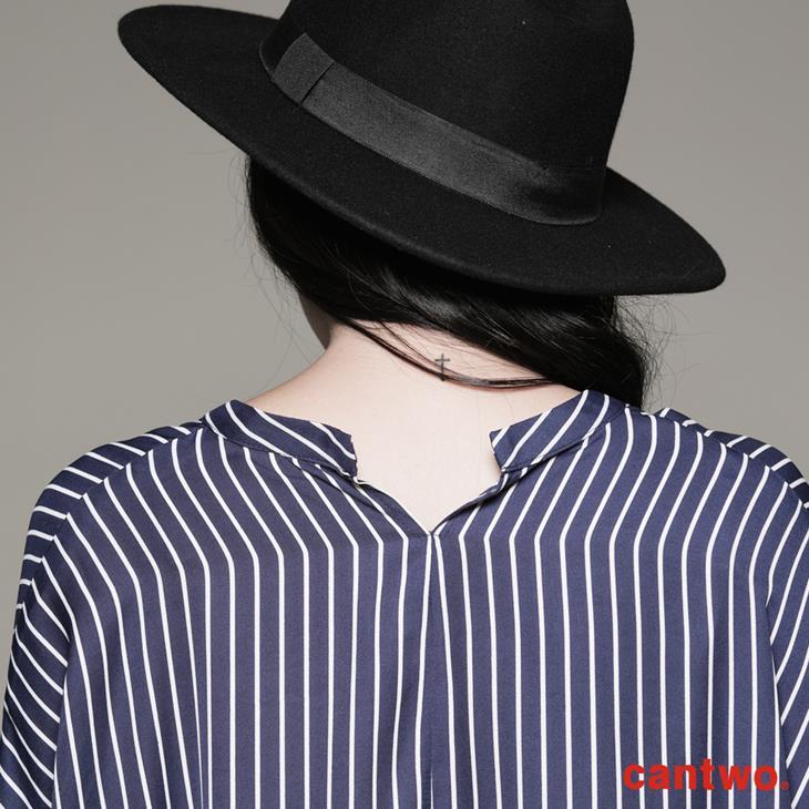 cantwo條紋小立領弧襬襯衫(共二色) 5