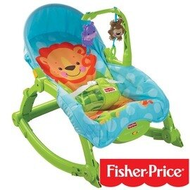 Fisher-Price費雪 - 可愛動物可攜式兩用安撫搖椅(躺椅) 限量加贈費雪牌時尚媽媽空氣包!