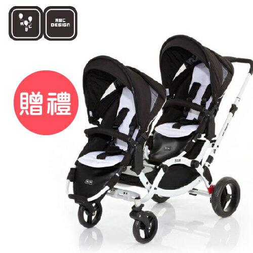 【好禮五選二】德國【ABC Design】ZOOM 嬰兒雙人推車(個性黑白)(蚊帳/雨罩-11月寄出) 0
