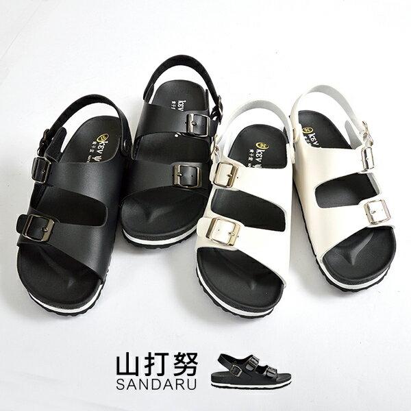 兩版側扣平底涼鞋
