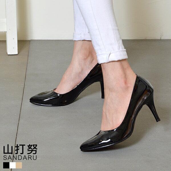 尖頭中跟鞋 尖頭漆皮中細跟包鞋- 山打努SANDARU【03D8760#46】