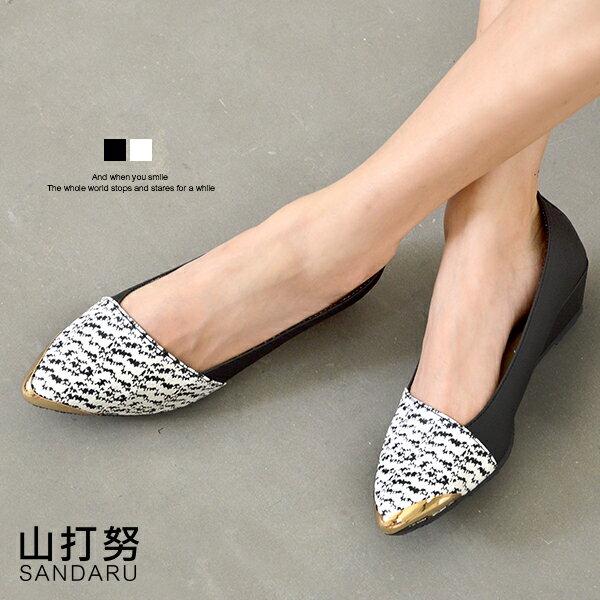 尖頭楔型鞋 金屬尖頭水波紋楔型鞋- 山打努SANDARU【107A1208#46】