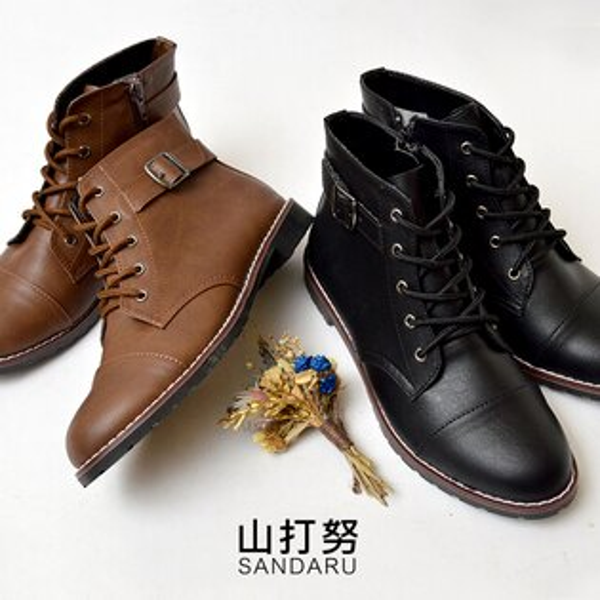 短靴 個性綁帶低跟短靴- 山打努SANDARU【1019989#46】