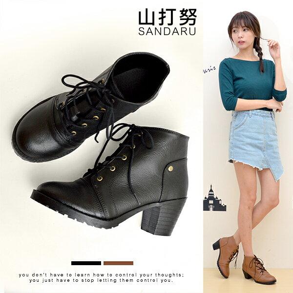 短靴 素面綁帶低筒粗跟靴- 山打努SANDARU【101C6123#46】