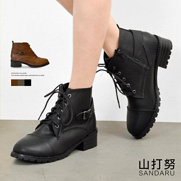 短靴 綁帶側扣拉鍊短靴~ 山打努SANDARU~1012193^#54~ ~  好康折扣