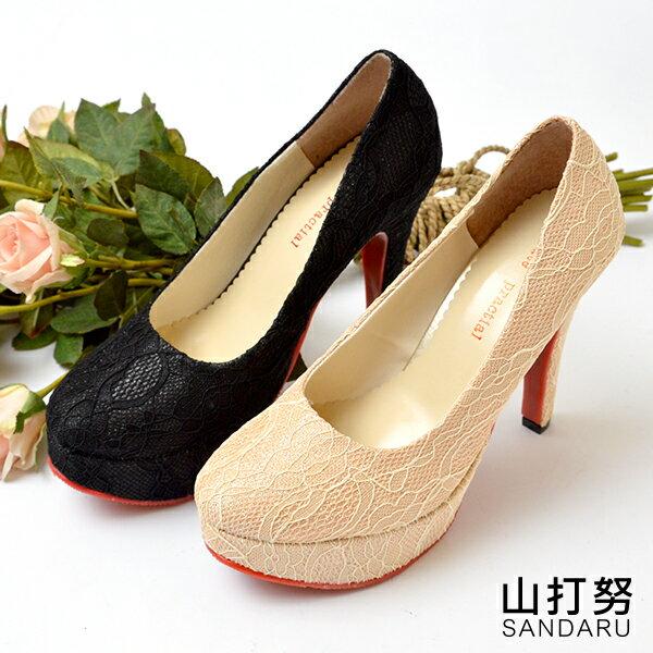 婚鞋 蕾絲布面高跟鞋- 山打努SANDARU【107B733#54】