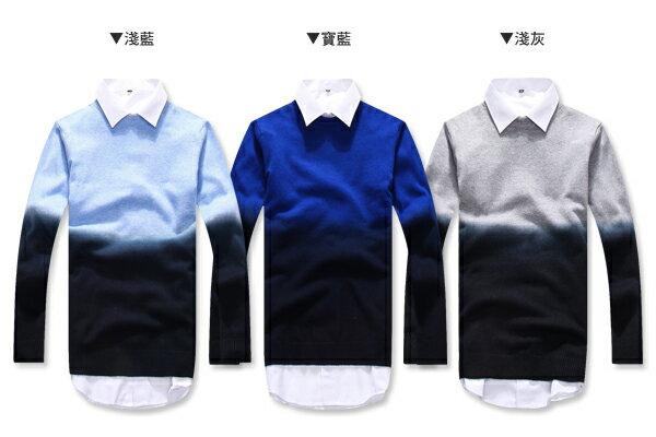 ☆BOY-2☆【PPK86032】視覺系圓領雙色漸層針織長袖毛衣 2