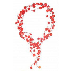 『法國原裝』獨家代理 - 100% 純手鉤限量紅色花朵長項鏈 1
