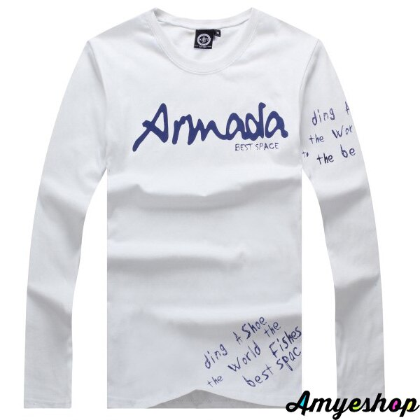 長袖   T-Shirt   情侶   MIT台灣製  隨性塗鴉文字+左袖印刷長T【G4256】艾咪E舖    情侶長袖 2