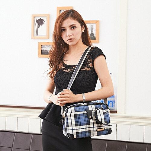 【XINWEI POLO】經典唯美藍格側背包附零錢包