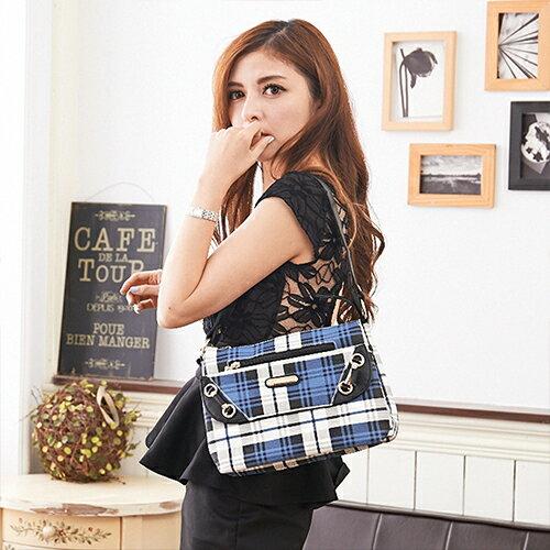 【XINWEI POLO】經典唯美藍格前式拉鍊側背包附零錢包