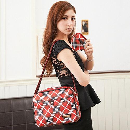 【XINWEI POLO】經典女伶紅格側背包附零錢包