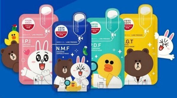 《香水樂園》韓國 Mediheal LINE聯名 面膜 熊大 兔兔 莎莉 IPI粉 NMF藍 PDF綠 EGT黃