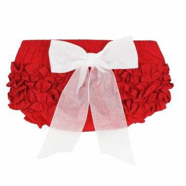 ★啦啦看世界★ Rufflebutts 紅色立體蝴蝶結屁屁褲 尿布褲 小短褲 嬰兒彌月禮 出生