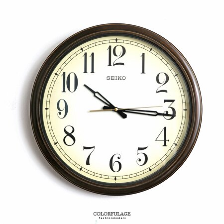 SEIKO精工時鐘 咖啡色復古米黃色大尺寸掛鍾 特殊防塵防潑水設計 柒彩年代【NE1614】原廠公司貨 0