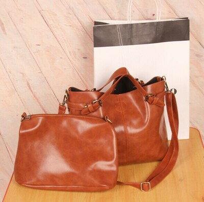 * Anne&Alice包包購 * ~歐美復古簡約時尚流行女包手提包肩背包側背包-1+1超值兩件套組~附長背帶~*