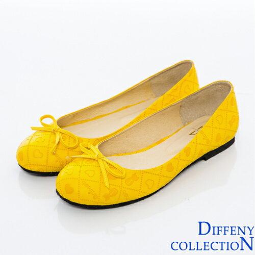 DN 俏皮可愛拼接菱格娃娃鞋-黃
