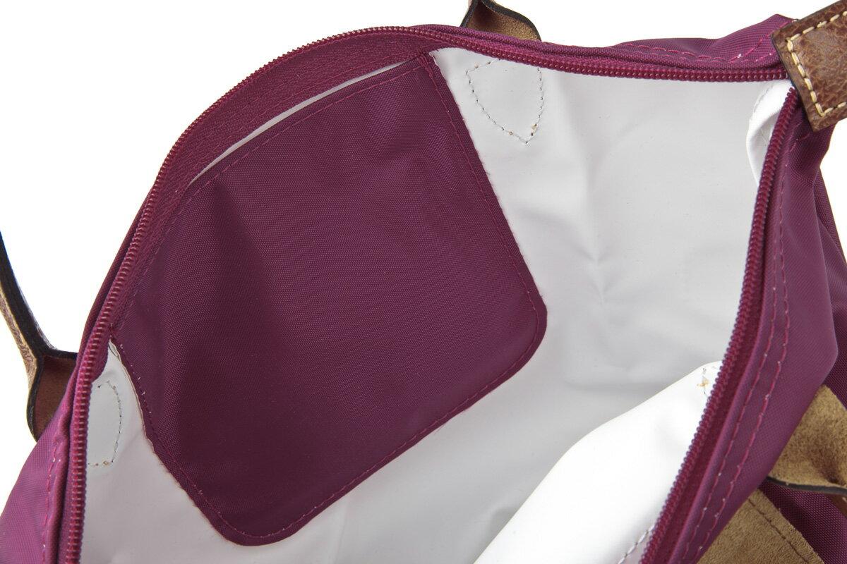 [短柄S號]國外Outlet代購正品 法國巴黎 Longchamp [1621-S號] 短柄 購物袋防水尼龍手提肩背水餃包 覆盆紫 3