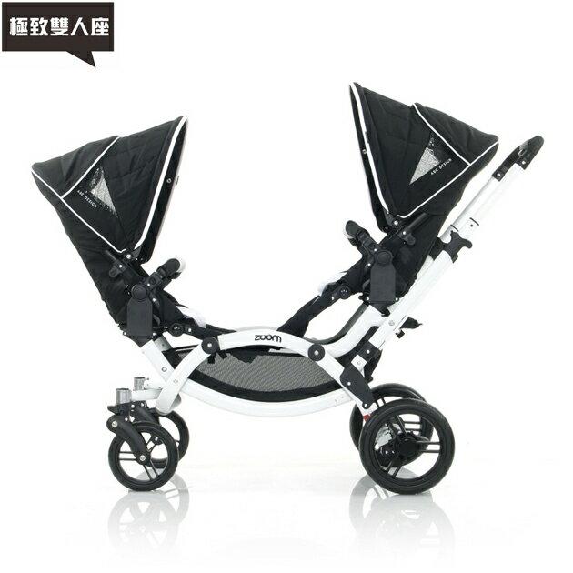【好禮五選二】德國【ABC Design】ZOOM 嬰兒雙人推車(個性黑白)(蚊帳/雨罩-11月寄出) 2