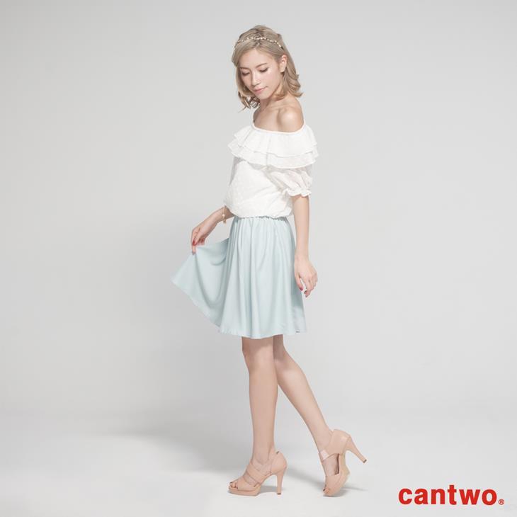 cantwo粉彩荷葉雪紡洋裝(共二色) 2