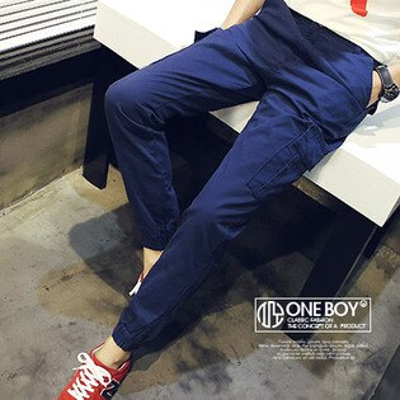 『 One Boy 』【N22114】秋冬質感剪裁全素面色系工作束口褲