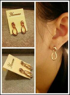 *Yvonne MJA珠寶首飾品*簡約設計感小個性縷空水滴圈圈小綴飾耳環(可改夾式)(玫瑰金,銀色)