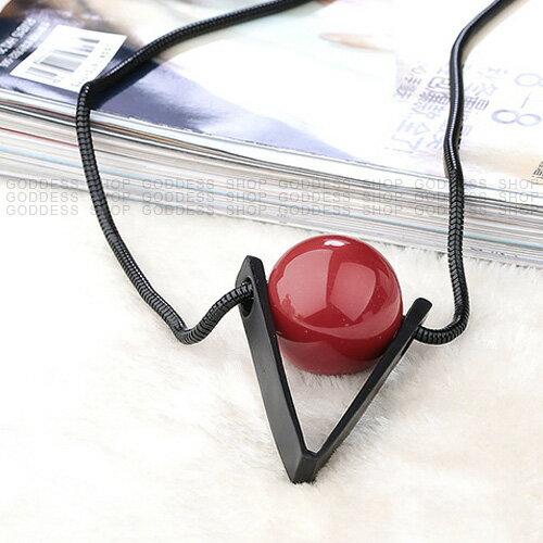 限時5折-嘉蒂斯項鍊 歐美幾何紅珍珠長款毛衣項鍊【S0009】1色 現貨+預購