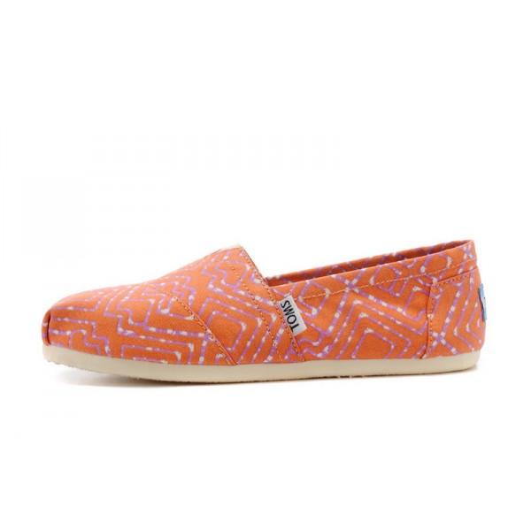 【TOMS】橘紅色幾何條紋平底休閒鞋  Coral Geometric Tie-Dyed Vegan Women's Classics 2