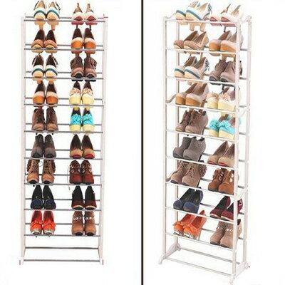 不銹鋼高強度10層組合鞋架簡易鞋櫃白色多層 【省錢博士】290元(請用宅配)