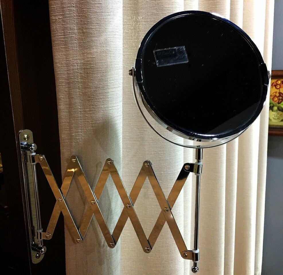 【日本-DULTON】圓型伸縮雙面掛鏡-安裝簡易、美觀大方,擁有雙面鏡,一為等倍鏡,另一為3倍鏡,鏡面可360度旋轉,掛軸可180度轉動,收納方便,無論安裝於浴廁、玄關或化妝檯,皆能有不一樣的風味 1