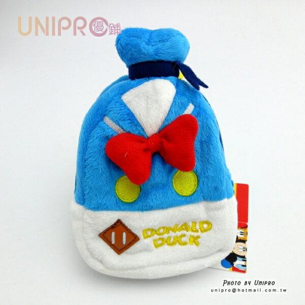 【UNIPRO】迪士尼 唐老鴨 DONALD DUCK 背包造型絨毛零錢包 扣環小收納袋 相機包