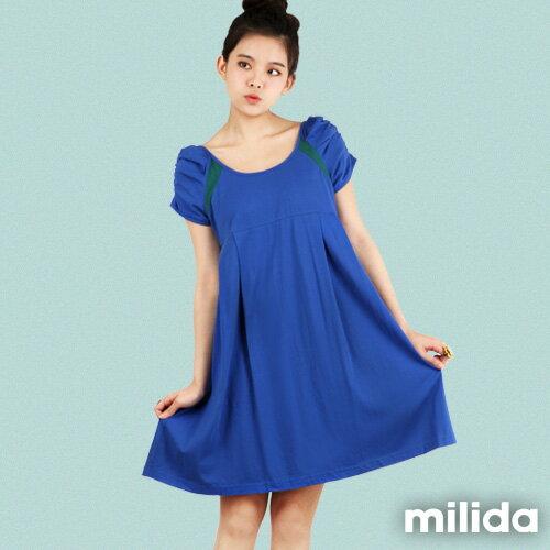 【milida】☆早春商品☆公主袖☆舒適寬版洋裝