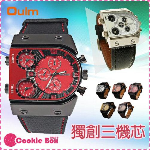 *餅乾盒子* Oulm 獨創 三機芯 三顯示 機械 儀表 手錶 軍錶 運動 皮革 男錶 個性 潮流 米奇 造型