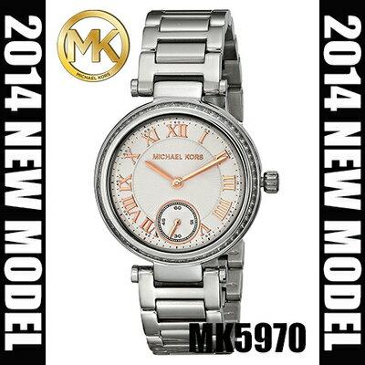 美國Outlet正品代購 MichaelKors MK 復古羅馬鑲鑽銀  陶瓷  三環 手錶 腕錶 MK5970 0