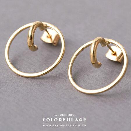 耳針耳環 簡簡單單也美麗 經典小圓穿大圓金色耳針耳環 柒彩年代【ND350】一對 - 限時優惠好康折扣
