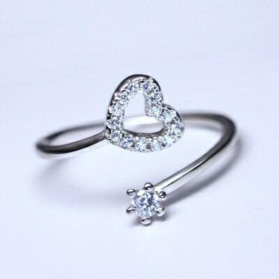 925純銀戒指鑲鑽開口戒~絢麗誘人愛心 七夕情人節 女飾品73dt66~ ~~米蘭 ~ ~