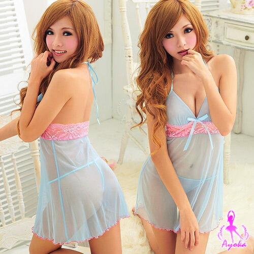星光密碼【D028】透明藍色薄紗粉紅色鏤空蕾絲二件式情趣性感睡衣