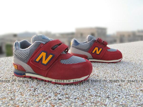 《超值6折》Shoestw【KG574K3I】NEW BALANCE 574 童鞋 運動鞋 小童 酒紅黃