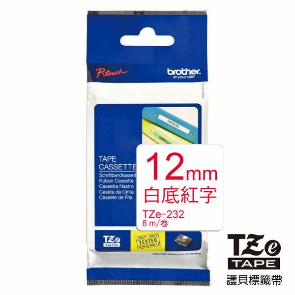 brother 護貝標籤帶 12mm  TZ-232白底紅字