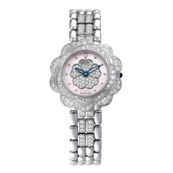 愛其華Ogival山茶花系列(305-14DLW-Pink)璀璨動人腕錶/粉紅面33mm